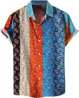 Mens Hawaiian Shirts Short Sleeve Cotton Linen Beach Tops Floral Print Button Down Shirt Boho Relaxed-Fit Casual Blouse