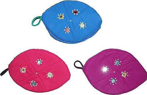 Jarani Women s Multicolour Cotton Ethnic Zipper Pouch Coin Purse Cosmetic Kit Small Makeup Bag Set of 3