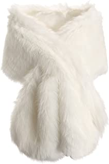 ArtiDeco Women's Faux Fur Scarf Fluffy Faux Fur Wrap Shawl Collar for Winter Coat 1920s Flapper Accessories Outfit Warm Accessories 120 cm Long