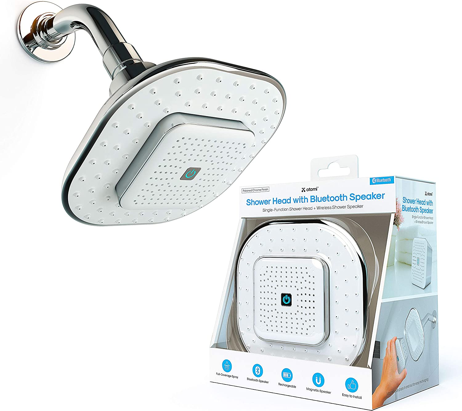 Atomi Shower Head with Bluetooth - Wireless Max 73% OFF Max 71% OFF Speaker Detachable