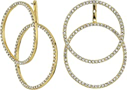 Double Crystal Pave Front Back Hoop Earrings