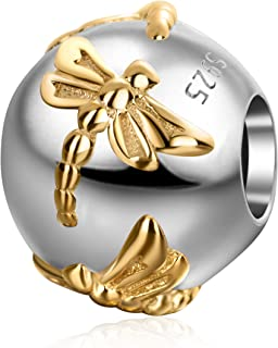 Gold Plated Dragonfly Charms Authentic 925 Sterling Silver Insect Round Charm for European Bracelet