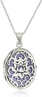 Italian Sterling Silver Lotus Flower Locket Necklace, 18