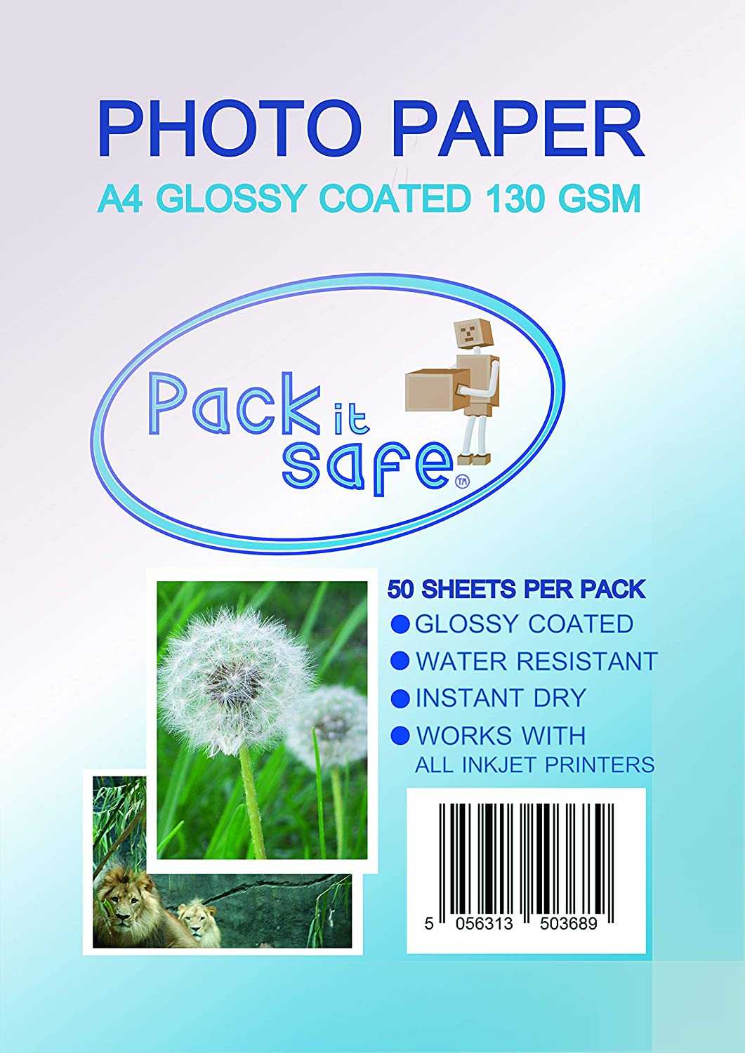 Packitsafe 50 Sheets A4 130Gsm Photo Max 85% OFF Paper Glossy Direct store Professional P