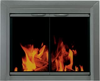 Pleasant Hearth CR-3400 Craton Fireplace Glass Door, Gunmetal, Small