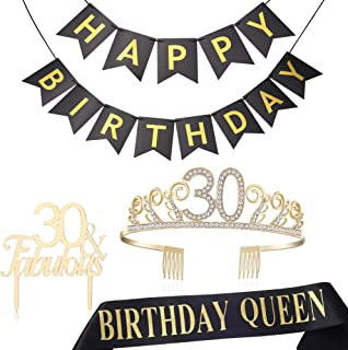 BABEYOND 30th Birthday Tiara and Sash 30th Cake Topper Happy Birthday Banner Satin Birthday Queen Sash 30th Birthday Party Supplies Rhinestone 30th Princess Crown (Set-2)