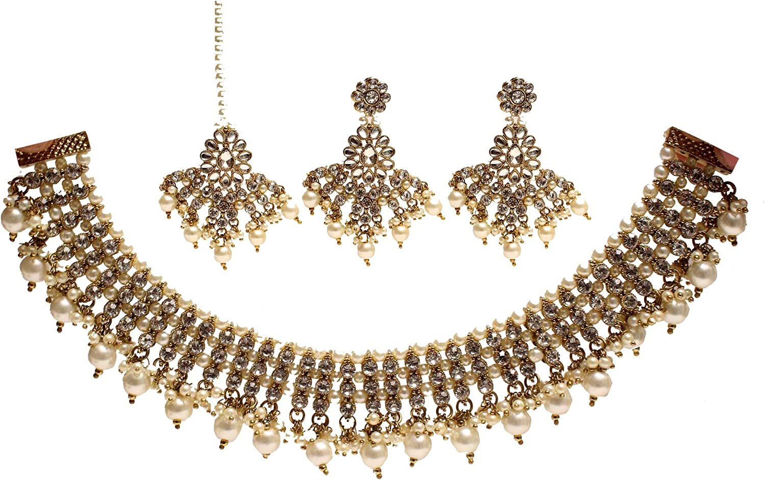 Glamorous Collection Max 86% OFF Gold Tucson Mall Necklace Set Jewelry Wed Bridal Indian