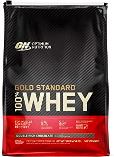 Optimum Nutrition Gold Standard 100% Whey Protein Powder, Double Rich Chocolate 10 Pound (Packaging May Vary)
