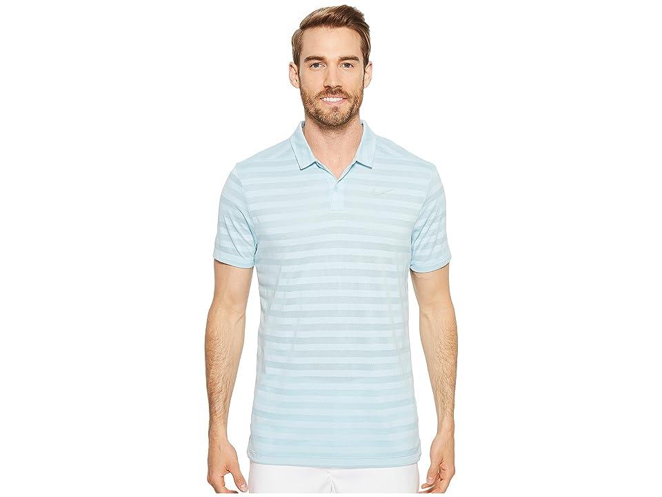 Nike Golf Breathe Stripe Polo OLC (Ocean Bliss/Black) Men