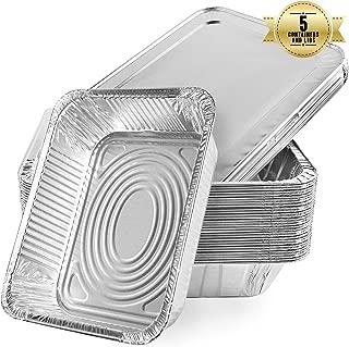 aluminio Recipientes desechables de aluminio con tapa de aluminio de 2400 ml Ideales como bandeja para el horno y para guardar alimentos Pack de 5 5 unidades