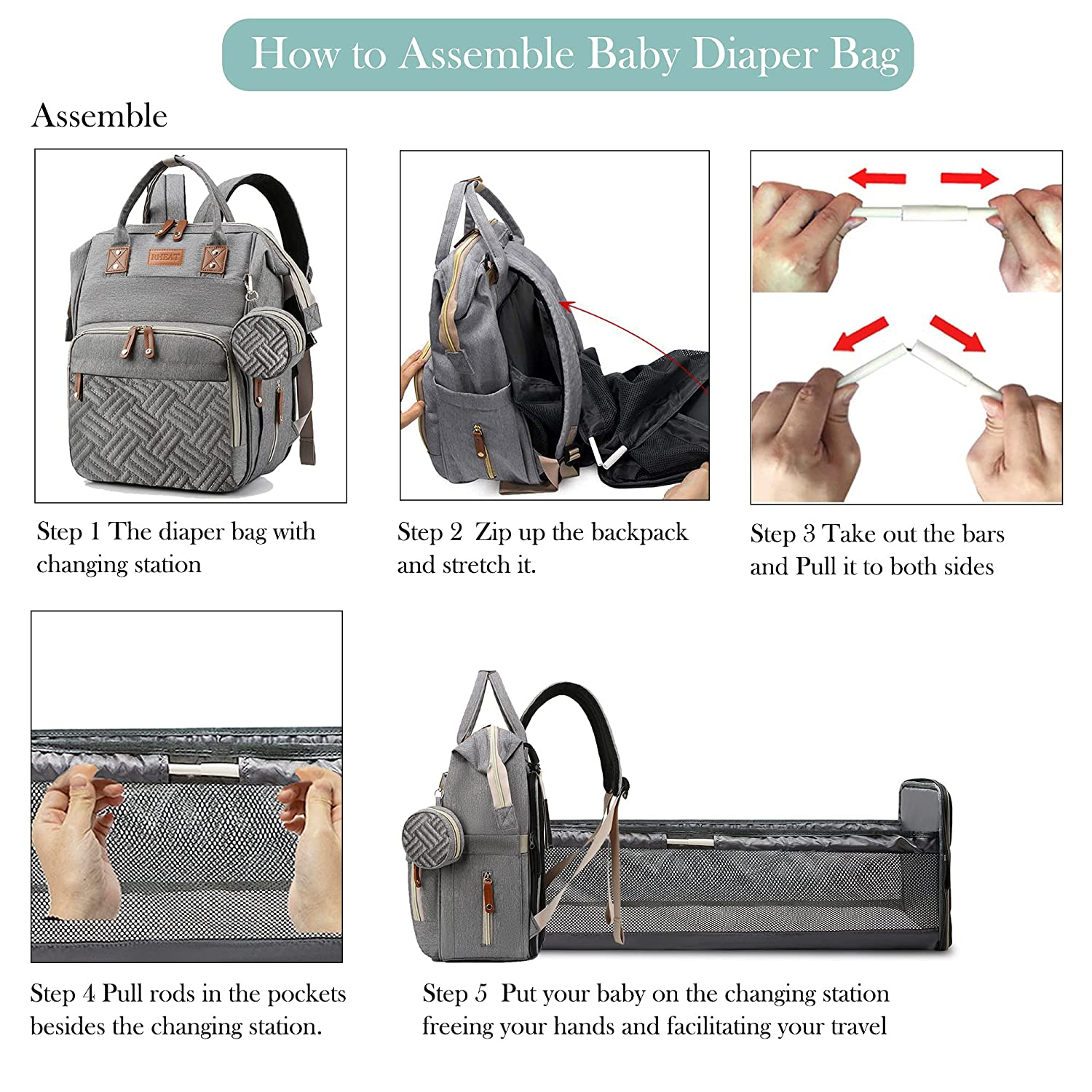 3 in 1 Diaper Bag Backpack with Changing Station Portable Travel Baby Bed Back Pack with USB Charge Foldable Waterproof Maternity Diaper Changing Bed Large Capacity Gifts for Mom and Dad Grey