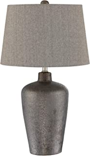 Table Lamp with Fabric Shade in Bronze and Gray