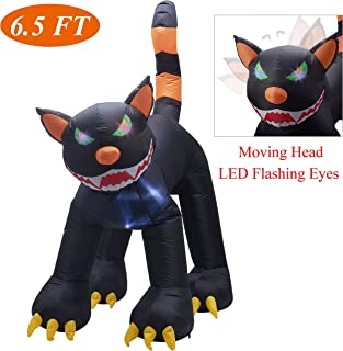 Twinkle Star Inflatable Halloween 6.5 ft Black Cat with LED Flashing Eyes and Moving Head, Home Yard Lawn Garden Party Outdoor Decoration