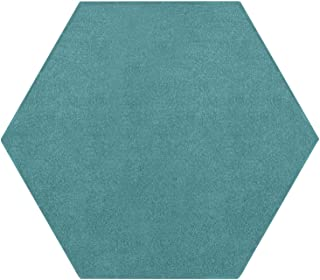 Ambiant Pet Friendly Solid Color Area Rug Teal -2' Hexagon
