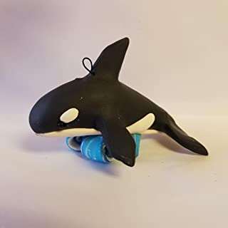 ORCA Killer Whale CHRISTMAS ORNAMENT Riding Waves Hand Made Polymer Clay OOAK