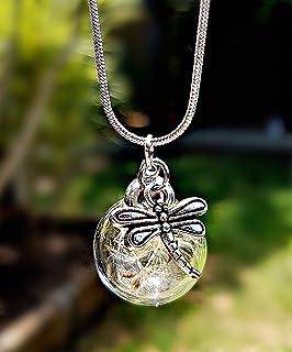 Libellula Collana di tarassaco Catena ARGENTO STERLING Pacco regalo - Ciondolo libellula gioielli a farfalla gioielli esti...