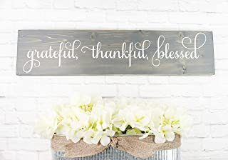 Gray Cursive Grateful Thankful Blessed Wooden Sign Rustic Handmade Decor - Farmhouse Home Wall Hangings