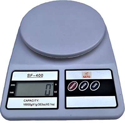 SATO Digital Kitchen Food Scale SF-400, Cooking and Baking, Weight gr - lb - oz, 22 lb - 10 kg, With TARA, Scale Kitchen Accurate - High Precision, Color White