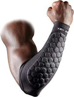 McDavid Hex Padded Forearm Compression Sleeve for Football & Contact Sports, Moisture Wicking to Keep You Dry & Cool, Includes 2 Sleeves (Renewed)