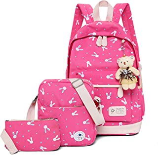 WSLCN Canvas Backpacks Set Girls School Bags Zipped Daypack Travel Satchel Shoulder Messenger Bag Kids Shoulder Bag Rucksa...