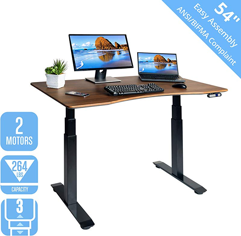 Seville Classics OFFK65826 Airlift S3 Electric Standing Desk With 54 Top Dual Motors 4 Memory Buttons LED Height Display Max 51 4 H 3 Section Base Black Walnut Wood