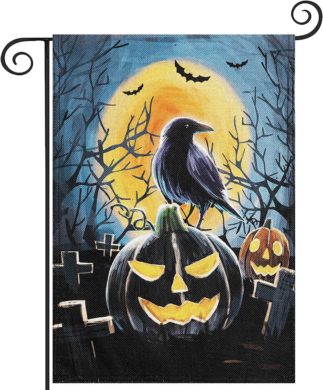Hogardeck Halloween Garden Flag, Pumpkin Ravens Garden Decorations Outdoor, Burlap Double Sided Vertical Halloween Porch Decor, Halloween Yard Flag Signs 12.5 x 18 Inches