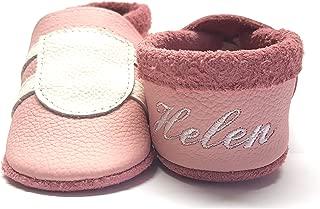 little foot company/® 1242 Krabbelschuhe Babyschuhe Lauflernschuhe mit Namensstickerei Sport weiches Leder rosa 16//17 ca 6-10 Monate