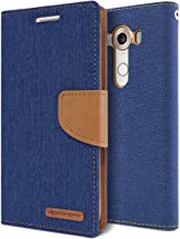 LG V10 Case, [Drop Protection] GOOSPERY Canvas Diary [Denim Material] Wallet Case [ID Credit Card and Cash Slots] with Stand Flip Cover for LG V10 - Blue / Camel