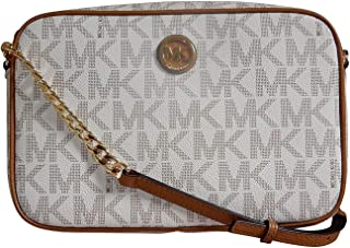 a1ad17bbfffa26 Michael Kors Fulton Leather Large East West Cross-body with Back Slip Pocket