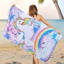 Microfiber Unicorn Beach Towel Oversized, Sand Free Girls Rainbow Beach Towels for Girls, Fantasy Castle Bath Towel Large,...
