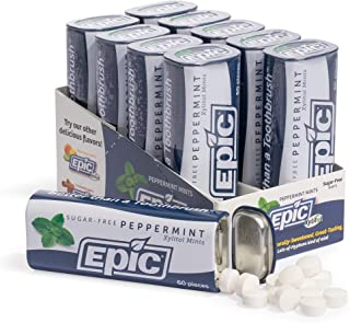 Epic Dental 100% Xylitol-Sweetened Mints, Peppermint Flavor, 60-count tins, Pack of 10