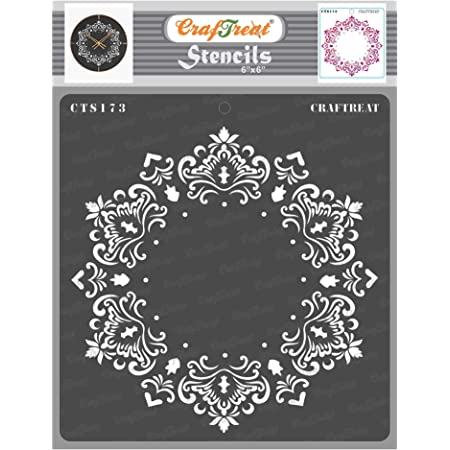 thecraftshop CrafTreat Stencil-Hexagon Doily Reusable Painting Template for Art and Craft, Mixed Media, Wall Painting, Home Decor, DIY Albums, Card Making and Fabric Painting (6 X 6 Inches)