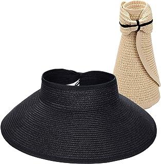 Maylisacc أقنعة شمس قابلة للطي من القش للنساء، حماية من الشمس واسعة الحواف قبعة شاطئ قابلة للتعديل
