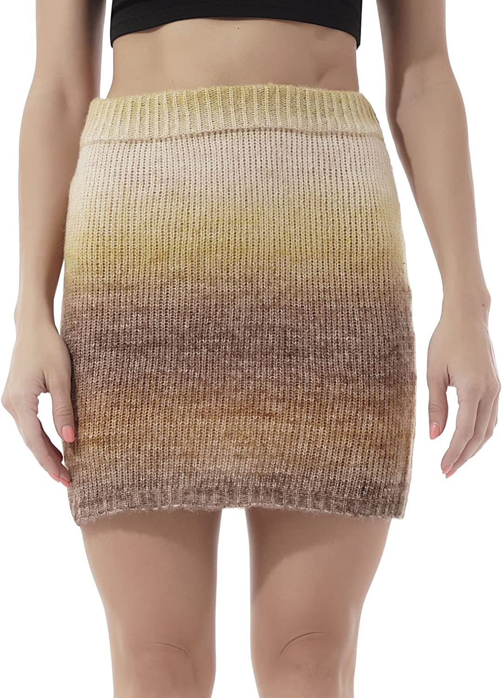 easyforever Womens Ribbed-Knit Skirt Casual High Waist Bodycon A-Line Mini Pencil Skirt Streetwear