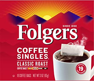 Folgers Classic Roast Coffee Singles, 19 Count, Packaging May Vary