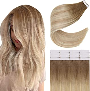 Easyouth Tape in Blonde Hair Extensions Human Hair Natural Color Medium Brown Fading to Strawberry Blonde with Platinum Bl...