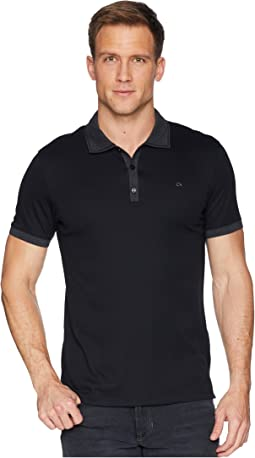 Short Sleeve Front Panel Jacquard Solid Tipped Polo
