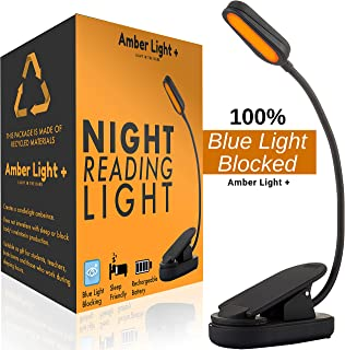 Amber Light Rechargeable Blue Light Blocking Reading Light   Warm LED Light for Strain-Free, Healthy Eyes   Base Clamp for Hands-Free Use On The Go   Perfect for Readers, Students, Kids, and More