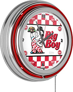 Bob's Big Boy Checkered Chrome Double Ring Neon Clock