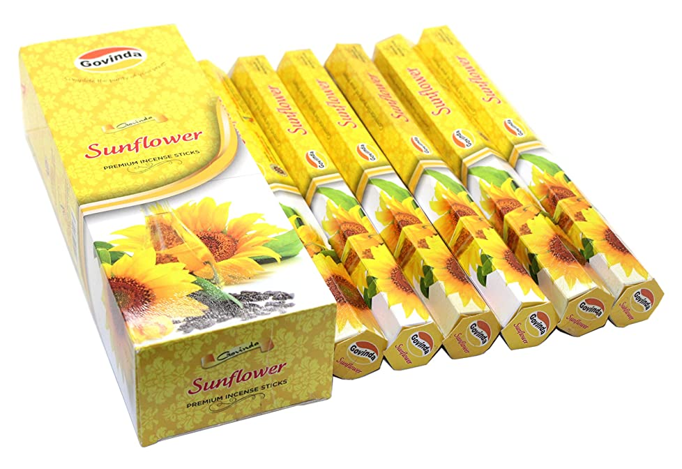 意志に反する等政策Govinda Incense?–?Sunflower?–?120?Incense Sticks、MasalaコーティングIncense
