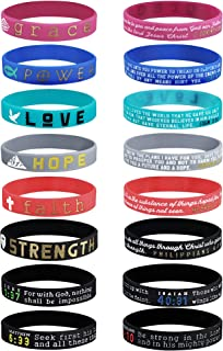 Finrezio 16Pcs Christian Inspirational Bible Bracelets Faith Hope Love Power Grace Strength Silicone Rubber Wristbands for...