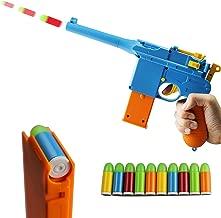 ZHENDUO Mauser Pistol Toy Gun with 10 Rubber Soft Bullets Mini Foam Dart Gun Blasters for Children Kids Cosplay Gifts (Blue)