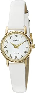 Peugeot Women's 3051WT Vintage 14K Gold-Plated White Face Roman Numeral White Genuine Leather Dress Analog Display Analog ...