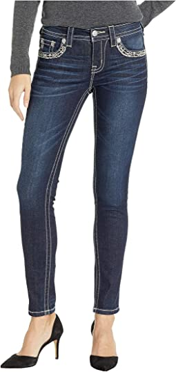 Border Embellished Skinny Jeans in Dark Blue