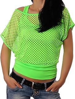 Crazy Age Frauen Partytop Sommertop Fasching Fest Netzoberteil aktueller Trend in Neonfarben