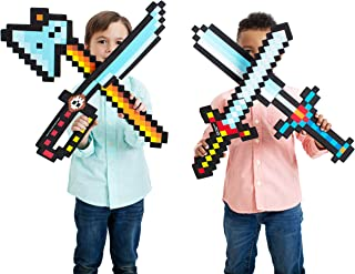 """Boley 8-Bit Pixel Diamond Foam Sword Set - 24"""""""" 4 Pack Weapons - Perfect Party Set & Party Favor - Offers Hours of Pretend Play for Kids, Children, & Toddlers!"""
