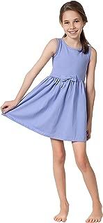 Girls Casual Sleeveless Swing Dress, Organic Cotton, Spandex, Scoop Neck, Tagless