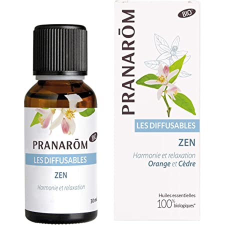 Pranarôm Parfum d'ambiance Bio, Zen, Huiles Essentielles pour Diffusion, Orange et Cèdre, Harmonie et relaxation, 30 ml