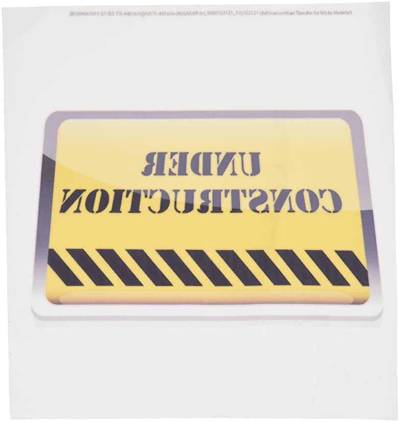 3dRose ht_153121_1 A Yellow Under Construction Sign Iron on Heat Transfer, 8 by 8-Inch