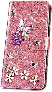 JAWSEU Funda Brillante Brillo Compatible con Huawei P30 Lite, PU Cuero Flip Libro Billetera Soporte Carcasa con 3D Glitter Mariposa Diseño Cierre Magnético Ranura para Tarjetas Protectora Funda,Rosado